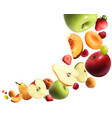 fruits falling realistic composition vector image vector image