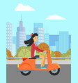 girl riding motorbike scooter and cityscape vector image