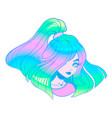 Girl with a bright holographic hair