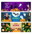 halloween pumpkins candies ghosts vampire bats vector image vector image