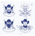 hand drawn sketch cowboy set vector image