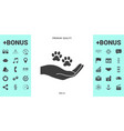 hand holding paw symbol animal protection vector image vector image