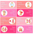 happy valentines day horizontal postcards set vector image vector image