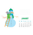 january calendar page with cute rat make snowman vector image vector image