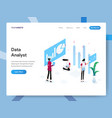 landing page template data analyst isometric vector image