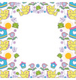 little bird flying with flowers garden pattern vector image