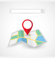 location search folded map navigation vector image vector image