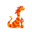 loving mother dragon and her baby cute striped vector image vector image