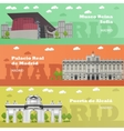 Madrid tourist landmark banners vector image