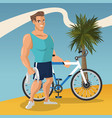 man with sport bicycle vector image