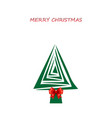 merry christmas greeting card with christmas tree vector image vector image
