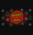 merry christmas neon banner vector image vector image