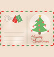 merry christmas retro pine tree holiday postcard vector image