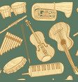 musical instrument pattern in hand drawn style vector image vector image