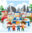 neighborhood scene with four boys in winter vector image vector image