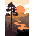 pine tree stands on ground with rocks near lake vector image vector image