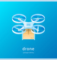 quadcopter with package concept01 vector image vector image