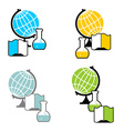 Science logo Globe and laboratory flask Book and vector image vector image