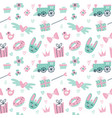 seamless pattern with cute rabbit train gift vector image vector image