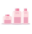 set of cosmetic bottles in flat style soap vector image