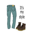 set of mens clothing jeans and boots isolated on vector image