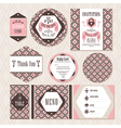 Set of vintage wedding cards vector image vector image
