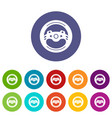 steering wheel icons set color vector image vector image