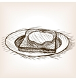 Toast with honey sketch style vector image vector image
