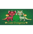 Toothy dragon on a green background vector image vector image