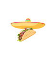 traditional mexican food - taco cartoon banner vector image