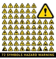 Triangular Warning Hazard Symbols Big yellow set