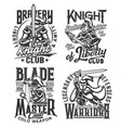 tshirt prints with knight warriors with sword vector image vector image