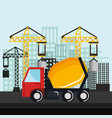 under construction mixer truck vehicle crane city vector image vector image