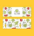 vegan food banner or card natural organic healthy vector image vector image