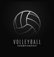 volleyball ball logo volleyball champion on black vector image vector image