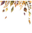 watercolor autumn card with fallen leaves vector image vector image