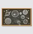 white planets on black chalkboard hand vector image vector image