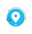 white simple pin icon on blue circle vector image vector image