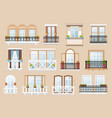 windows and balconies facade exterior vector image