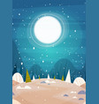 winter forest landscape moon shining over snowy vector image vector image