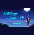 witches night banner with woman with magic wand vector image vector image