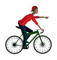 young guy rider bicycle pointing hand vector image