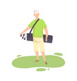 young man holding sports bag with golf clubs male vector image vector image