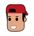 young man smiling wearing backwards hat icon image vector image vector image