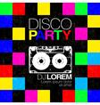 Disco poster or flyer design vintage template on vector image