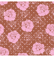 Seamless pink rose pattern on brown background vector image