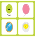 Learning oval form shape Smiling face Cute vector image