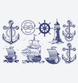 a set black and white vintage nautical vector image
