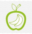 apple fruit with bananas isolated icon design vector image vector image