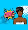 black african-american young girl pop art vector image